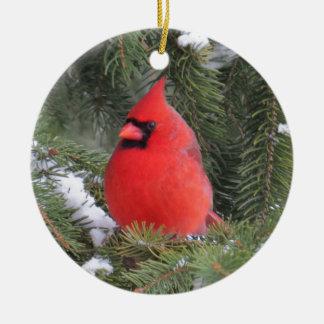 Ornement Rond En Céramique Cardinal impeccable