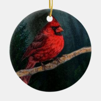 Ornement Rond En Céramique Cardinal rouge de Noël primitif à feuillage