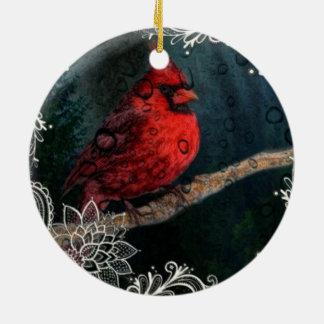 Ornement Rond En Céramique Cardinal rouge de Noël primitif blanc de dentelle