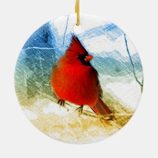 Ornement Rond En Céramique Cardinal rouge de Noël primitif de pays occidental