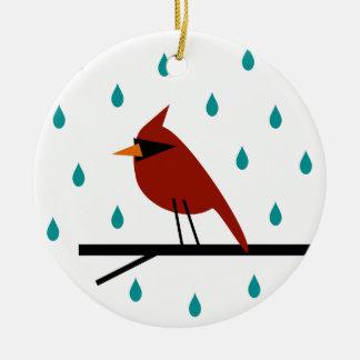 Ornement Rond En Céramique Cardinal sous la pluie