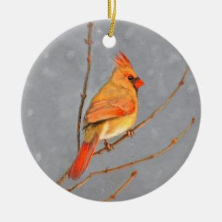 Ornement Rond En Céramique Cardinal sur la branche