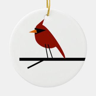 Ornement Rond En Céramique Cardinal sur un membre
