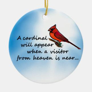 Ornement Rond En Céramique Cardinal, visiteur de ciel