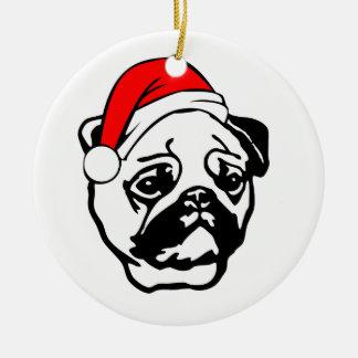 Ornement Rond En Céramique Carlin avec le casquette de Père Noël de Noël