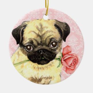 Ornement Rond En Céramique Carlin rose de Valentine