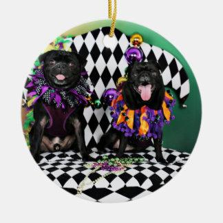 Ornement Rond En Céramique Carlins du mardi gras 2015 de Pugsgiving - Otto et