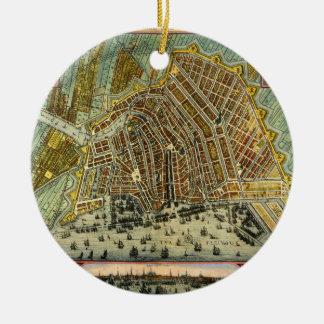 Ornement Rond En Céramique Carte antique d'Amsterdam, Hollande aka Pays-Bas
