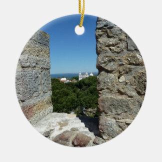 Ornement Rond En Céramique Carte de voeux du château de St George (Lisbonne,