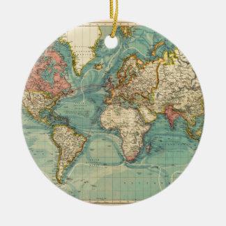 Ornement Rond En Céramique Carte vintage du monde