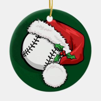 Ornement Rond En Céramique Casquette de Père Noël de base-ball