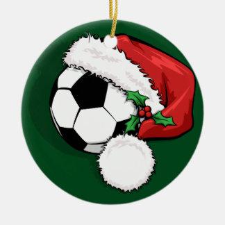 Ornement Rond En Céramique Casquette de Père Noël du football