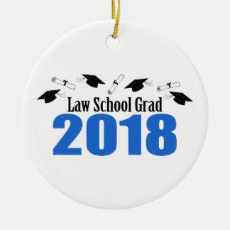 Ornement Rond En Céramique Casquettes et diplômes du diplômé 2018 d'école de