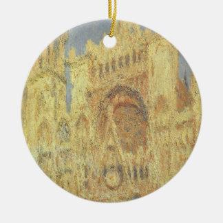 Ornement Rond En Céramique Cathédrale de Rouen, coucher du soleil par Claude