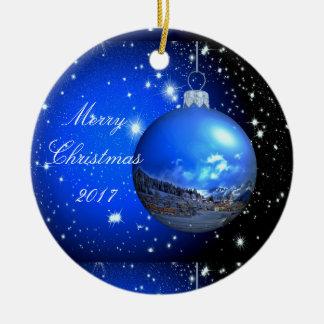 Ornement Rond En Céramique Céleste de Joyeux Noël customisé