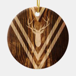 Ornement Rond En Céramique Cerfs communs de Boho sur le bois rustique