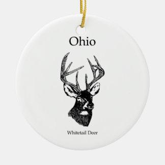 Ornement Rond En Céramique Cerfs communs de queue blanche de l'Ohio