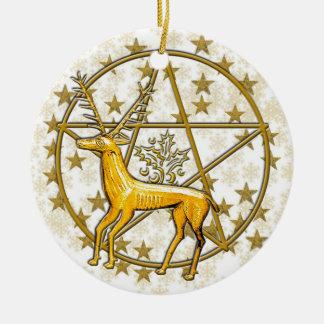 Ornement Rond En Céramique Cerfs communs d'or et date #3 décoré d'un