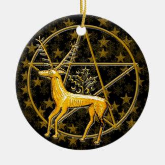 Ornement Rond En Céramique Cerfs communs d'or et pentagramme - #1 double face