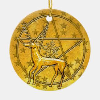 Ornement Rond En Céramique Cerfs communs et pentagramme #5 d'or