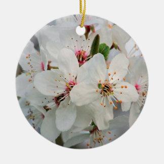 Ornement Rond En Céramique Cerise blanche florale