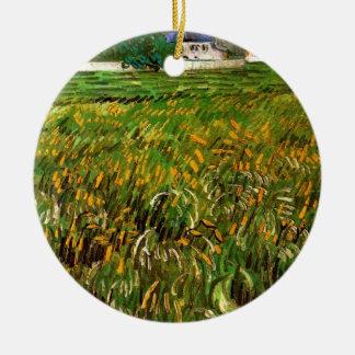 Ornement Rond En Céramique Champ de blé de Van Gogh chez Auvers avec la