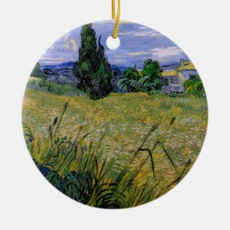 Ornement Rond En Céramique Champ de blé vert de Van Gogh avec Cypress,