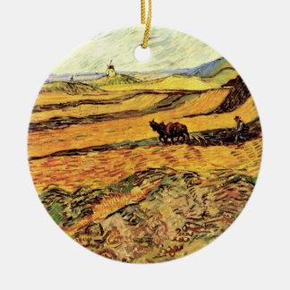 Ornement Rond En Céramique Champ de Van Gogh avec le laboureur et le moulin,