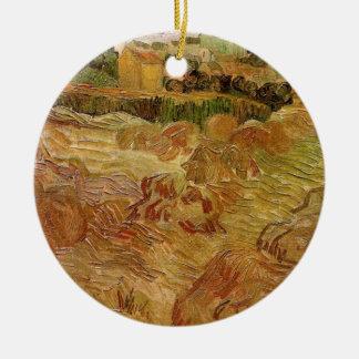 Ornement Rond En Céramique Champs de blé de Van Gogh avec des beaux-arts de