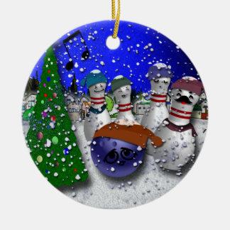 Ornement Rond En Céramique Chant de Noël de bowling