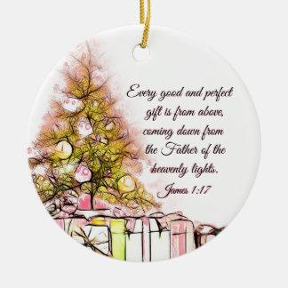 Ornement Rond En Céramique Chaque bon et parfait 1h17 de James de cadeau,