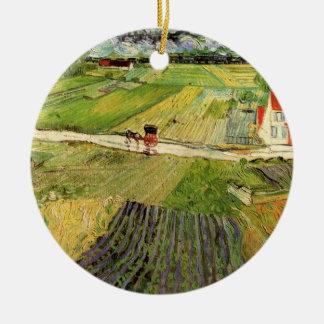 Ornement Rond En Céramique Chariot de paysage de Van Gogh et train,