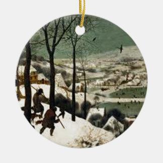 Ornement Rond En Céramique Chasseurs dans la peinture d'hiver
