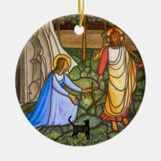 Ornement Rond En Céramique Chat d'ATF Angelico (le chat de Yeshua)