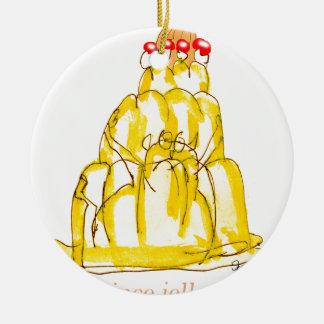 Ornement Rond En Céramique chat élégant de jello du coing des fernandes
