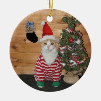 Ornement Rond En Céramique Chat/Kitty de réveillon de Noël