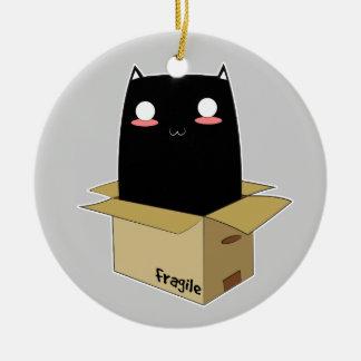 Ornement Rond En Céramique Chat noir dans une boîte