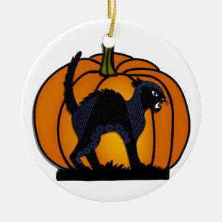 Ornement Rond En Céramique Chat noir de Halloween et citrouille - 1