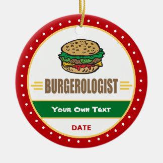 Ornement Rond En Céramique Cheeseburger drôle d'hamburger