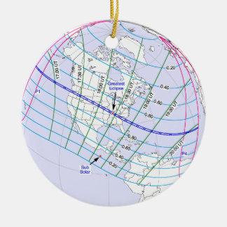 Ornement Rond En Céramique Chemin global de l'éclipse solaire 2017 totaux