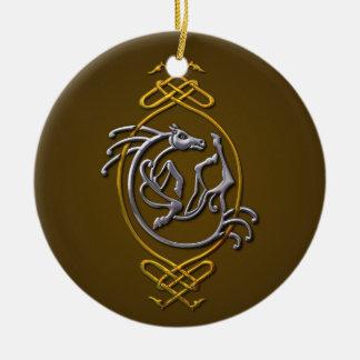 Ornement Rond En Céramique Cheval celtique - argent et or