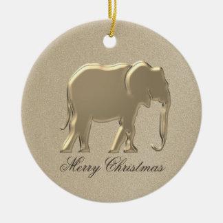 Ornement Rond En Céramique Chic élégant d'éléphant de silhouette d'or de Noël