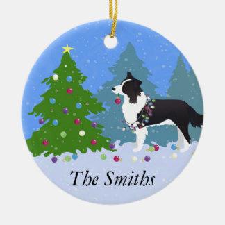 Ornement Rond En Céramique Chien de border collie décorant l'arbre de Noël