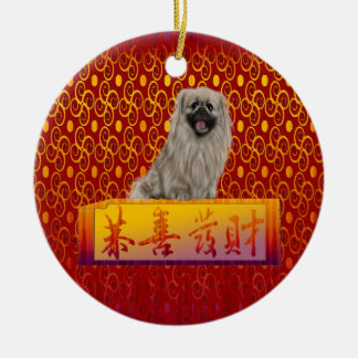 Ornement Rond En Céramique Chien de Pekingese la nouvelle année chinoise