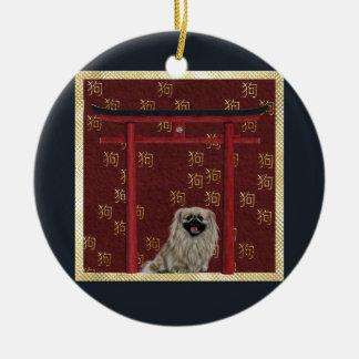 Ornement Rond En Céramique Chien de Pekingese, voûte asiatique rouge, signe