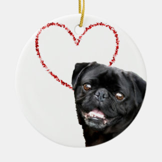 Ornement Rond En Céramique Chien du carlin de Valentine