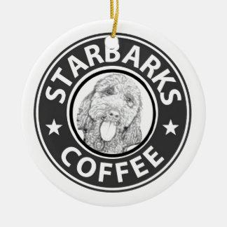Ornement Rond En Céramique chien Starbucks