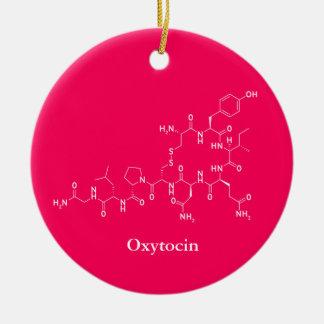 Ornement Rond En Céramique Chimie de molécule d'amour d'oxytocine