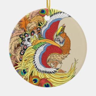 Ornement Rond En Céramique Chinois Phoenix