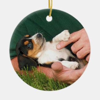 Ornement Rond En Céramique Chiot aimé de beagle